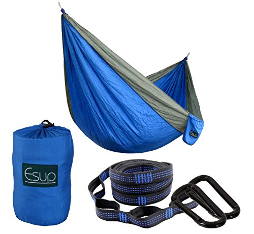 Esup Single Double Camping Hammock -Multifunctional Lightweight Nylon Portable Hammock, Best Parachute Hammock with Tree Straps for Backpacking, Camping, Travel