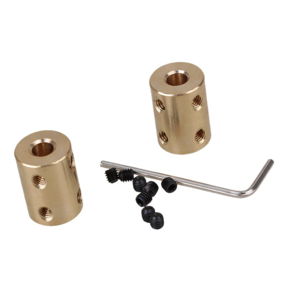Lot de 2Golden 6x 6mm CNC Moteur Coupleur en laiton Tige rigide Raccord coupleur connecteur moteur avec Serrer Vis et clé Allen ZIJIA