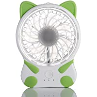 Nestar Portable Fan,Handheld Mini USB Rechargeable Personal Cute Cat Fan with 3 Speeds Strong Wind and Quite for Office,Outdoors and Traval,3-Inch,Green