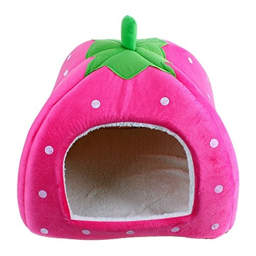 LanPet New Soft Strawberry Pet Dog Cat Rabbit Bed House Doggy Removable Cushion Basket Puppy Home Lovely Pet Cage S21 (Large, Pink)