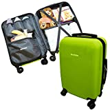 Emmzoe Hardshell Baby Kids Gear 20'' Carry-On Spinner Luggage Multi-Compartment for Food, Toys, Diapers, Clothes - Security Check Friendly (Lime Green)