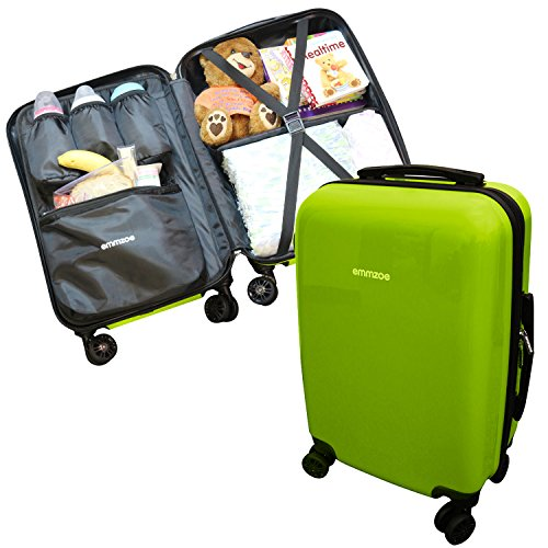 Emmzoe Hardshell Baby Kids Gear 20'' Carry-On Spinner Luggage Multi-Compartment for Food, Toys, Diapers, Clothes - Security Check Friendly (Lime Green) by Emmzoe
