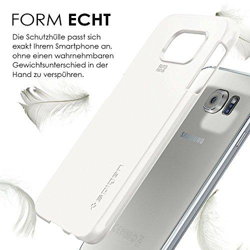 Spigen Hülle + Panzerglasfolie Samsung Galaxy S6 (THIN FIT Schutzhülle Shimmery White + 1 x Panzerglasfolie) [Spigen Protect Ultra]