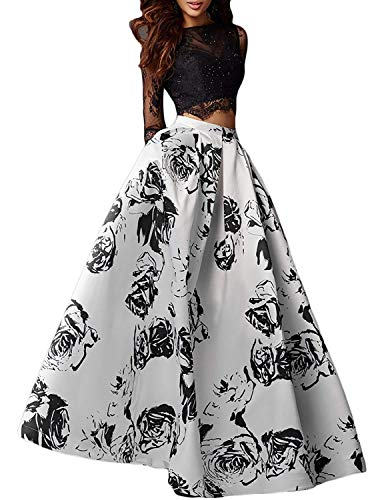 (Aurora Bridal Womens Two Piece Floral Prom Dresses with Sleeves 2019 Long Formal Evening Gowns Size 2 Black)