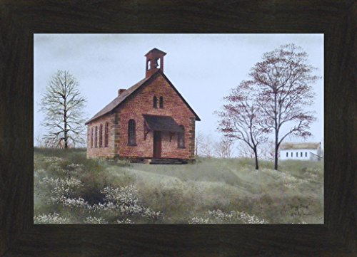 "Spring Break by Billy Jacobs 16x22 Little Country Brick School House Teacher Primitive Folk Art Print Framed Picture (2"" Espresso)"