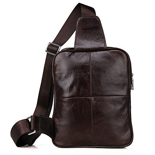 il petto Shoulder portatile Grain Daypack Top tempo per Sling confortevole Cow borsa Xuanbao e libero Leather all'aperto zaino Casual x0Az4wnq7