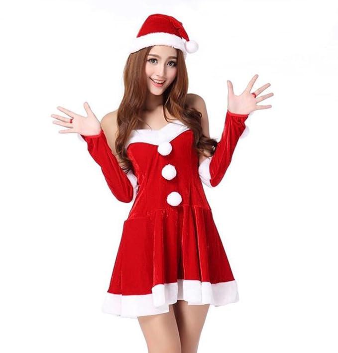 Baymate Disfraz Estilo Papá Noel Cosplay Fiesta Backless Vestido para Mujeres Rojo (Vestir+Sombrero+Manga): Amazon.es: Ropa y accesorios