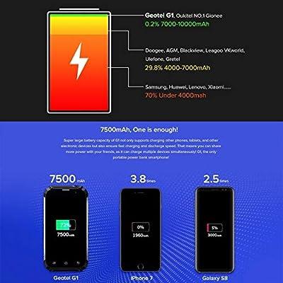 Teléfonos móviles teléfonos celulares Mobile G1, 2 GB + 16 GB, a prueba de golpes, 7500mAh de la batería, 5,0 pulgadas Android 7.0 MTK6580A Quad Core a 1,3 GHz hasta, de red: