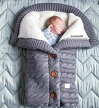 Yuehuam Manta de Bebé Recién Nacido de Invierno Crochet de Punto Más Suave Cálido Abrigo de Envoltura de Saco de Dormir para Niño Niña
