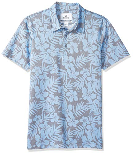 28 Palms Men's Standard-Fit Performance Cotton Tropical Print Pique Golf Polo Shirt, Washed Blue Hibiscus Floral, XX-Large