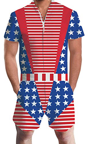 Leapparel Men Printed USA Flag Stripe One Piece Jumpsuit Zip Short Sleeve Casual Pants Rompers Slim Fit Party Overalls Boyfriend Shorts M