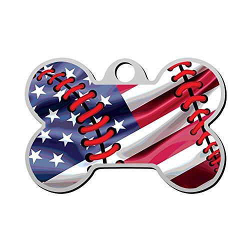 WWQE-47 Baseball American Flag Custom Pet' Names & ID Number Front & Back Tags Personalized Dog & Cat Tags Bone - Prints Club Paw Dog