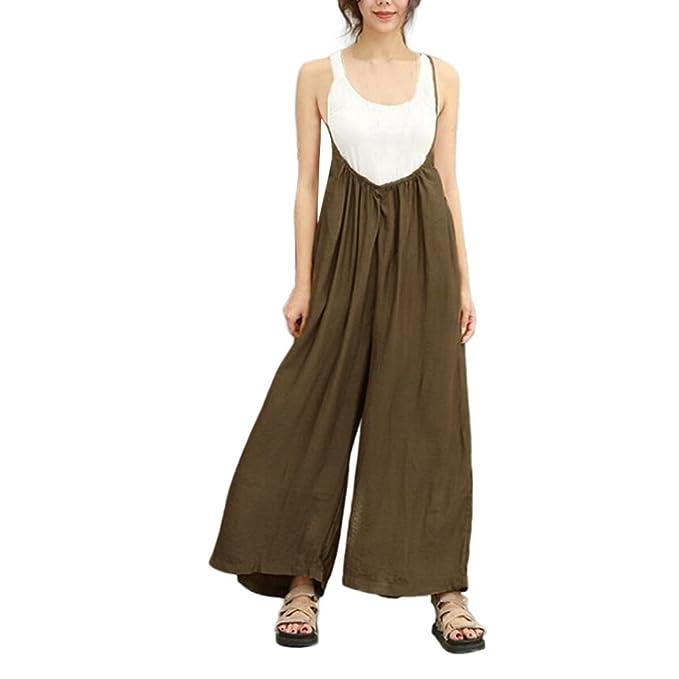 SOMESUN Pantaloni Larghi delle Donne Salopette Vocation Tute Casual Lunghi  Pagliaccetti Pantalone con Bretelle Semplici Pantaloni Taglie Forti Eleganti  ... b0f1aa9e342