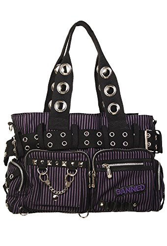 Lasot Queen Striped Punk Rock Steampunk Purse with Handcuff Skull Charm (Purple) ()