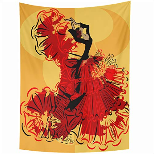 Ahawoso Tapestry 60 x 80 Inches Dance Red Flamenco Abstract Yellow Spanish Dancer Redblack Dress Vintage Big Black Body Design Move Wall Hanging Home Decor Tapestries for Living Room Bedroom Dorm