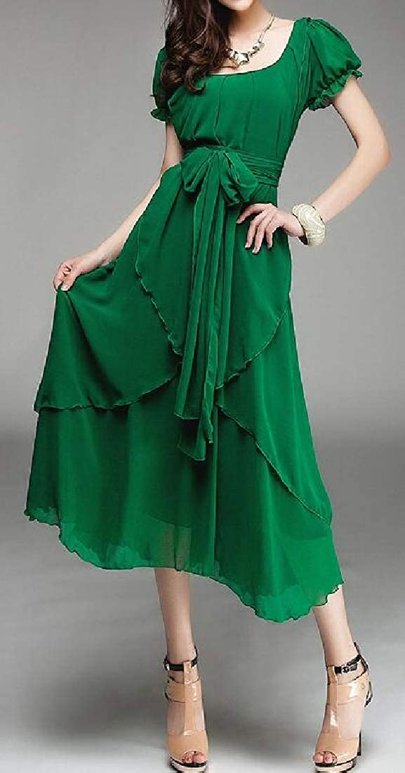 MOUTEN Womens Solid Color Chiffon Summer Irregular Short Sleeve Slim Fit Cocktail Party Midi Dress