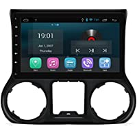 AIMTOM 2015-2018 Jeep Wrangler JK In-Dash Tesla-Style Android Navigation GPS Deck Bluetooth A2DP Radio 10.1 Inch HD Touchscreen Smartphone Mirroring AV Receiver Wi-Fi Infotainment System Google Play