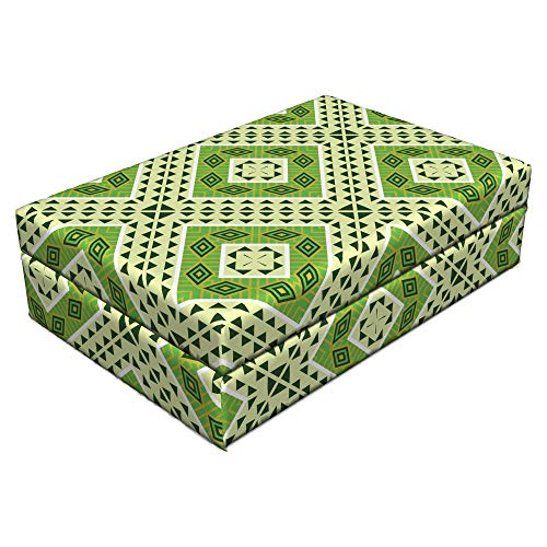 Lunarable Emerald Pet Bed, African Civilization Inspired Tribal Pattern with Geometric Elements Arrows Squares, Animal Mat Foam and Stylish Printed Cover, 24