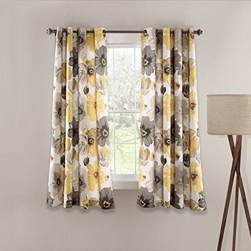 Lush Decor 16T000174 Leah Room Darkening Window Curtain Panel Set, 63″ x 52″, Yellow/Gray