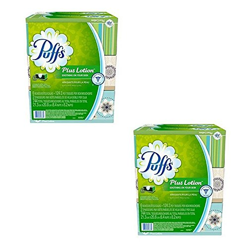 Puffs Plus Lotion Facial Tissues Family Box, 6ct Soothing Lotion with Aloe, Vitamin E, and Shea Butter (Puffs Facial Tissue 24 Boxes)