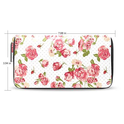 a Dot Rose Women's New Purse Zipper Purse Clutch Bag Card Holder New Fashion ()