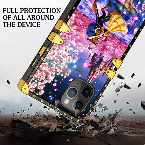 DISNEY COLLECTION iPhone 11 Pro Max 6.5 Inch 2019 Luxury Phone Case Belle Beauty and The Beast Dance Romantic Square Phone Cover Metal Decoration Corner Shockproof Phone Shell