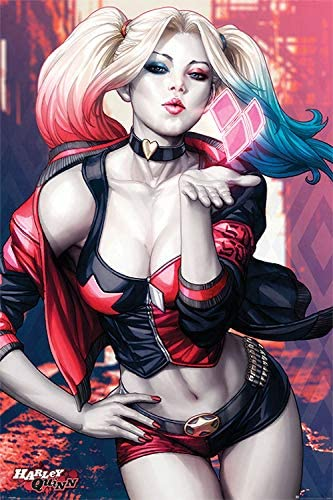 """Amazon.com: Harley Quinn: 'A Kiss'. Large 24""""×36"""" Size. The ..."""