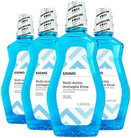 Amazon Brand - Solimo Alcohol-free Fresh Mint Multi-Action Antiseptic Mouthwash, 33.79 Fluid Ounce (Pack of 4)