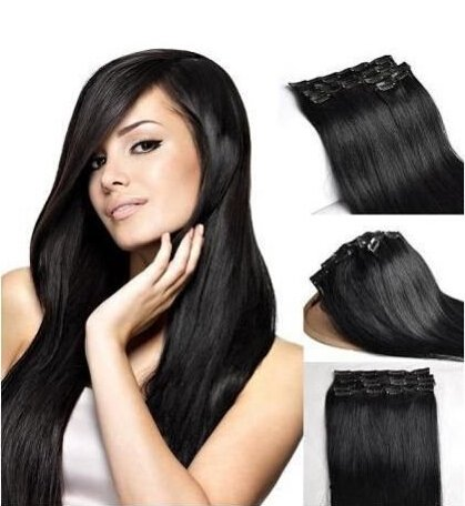 Romantic Angels26''(65cm) Remy Brazilian Human Hair Full Head Clip in Hair Extensions 120g 10pcs Set Color:#1