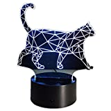 3D Walking Cat 7 Changable Colors LED Nightlight Pmma Illusion Lamp Touch Button Table Night Light for Home Decor Lamp c Review