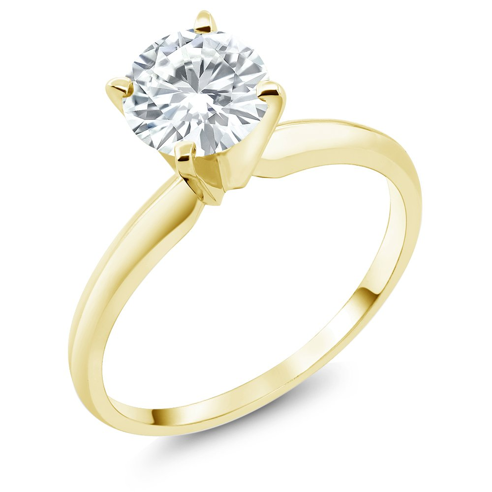 14K Yellow Gold Engagement 1 Carat Solitaire Ring with 6.5mm Created Moissanite