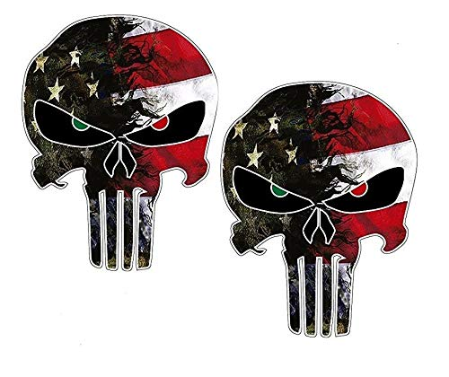 Camo Punisher Decal American Flag for Trucks Skull 6