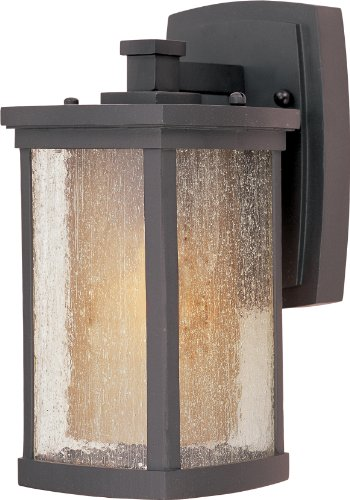 (Maxim 85652CDWSBZ Bungalow EE1-Light Wall Lantern, Bronze Finish, Seedy/Wilshire Glass, GU24 Fluorescent Fluorescent Bulb , 60W Max., Damp Safety Rating, Standard Dimmable, Glass Shade Material, 1344 Rated Lumens)
