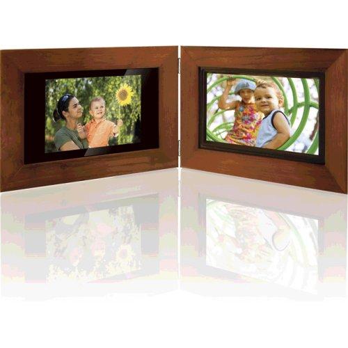 Dual Digital Photo Frame - GPX PF7708 7-Inch Dual Digital and Classic Photo Frame (Walnut)