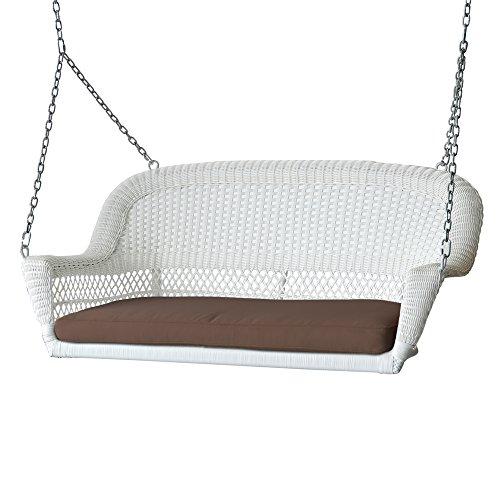 White Wicker Porch Swing - Jeco W00206S-B-FS007 Wicker Porch Swing, White