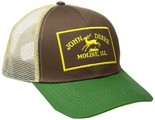 (John Deere Men's Twill and Mesh Cap Embroidery, Green, One)
