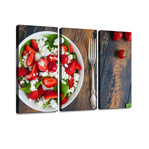 7houarts Healthy Vegetarian Salad with Fresh Strawberry Canvas Wall Artwork Poster Modern Home Wall Unique Pattern Wall Decoration Stretched and Framed - 3 Piece