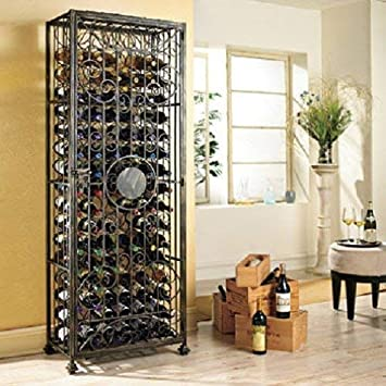 Wine Enthusiast 96 Bottle Wine Jail, Antiqued Steel