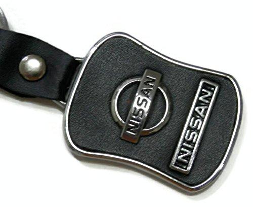 Black Nissan Auto Logo Enamel Leather Key Chain Key Ring Key Fob