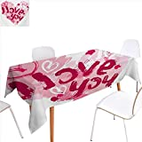 familytaste I Love You Printed Tablecloth Paintbrush Valentines Message Best Friends Forever February