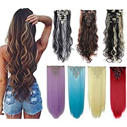 8Pcs 18 Clips 17-26 Inch Curly Straight Full Head Clip in on Hair Extensions Women Lady Hairpiece, standar Weft-sky Blue#, 24 Inch-Curly