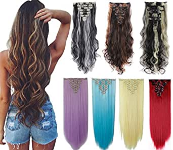 8Pcs 18 Clips 17-26 Inch Curly Straight Full Head Clip in on Hair Extensions Women Lady Hairpiece, standar Weft-ash Blonde#1, 17 Inch-Curly