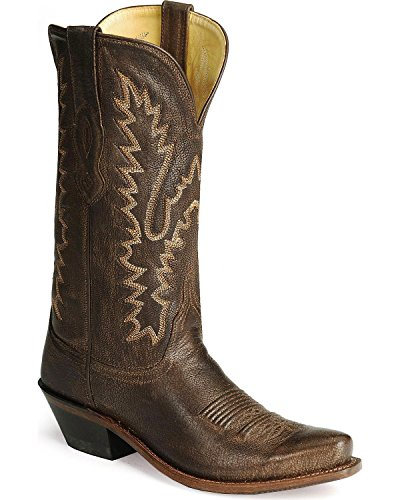 Old West Women's Distressed Leather Cowgirl Boot Snip Toe Dark Brown 9 M US