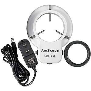 AmScope LED-56S 56 anillo de luz LED Microscopio Con Dimmer