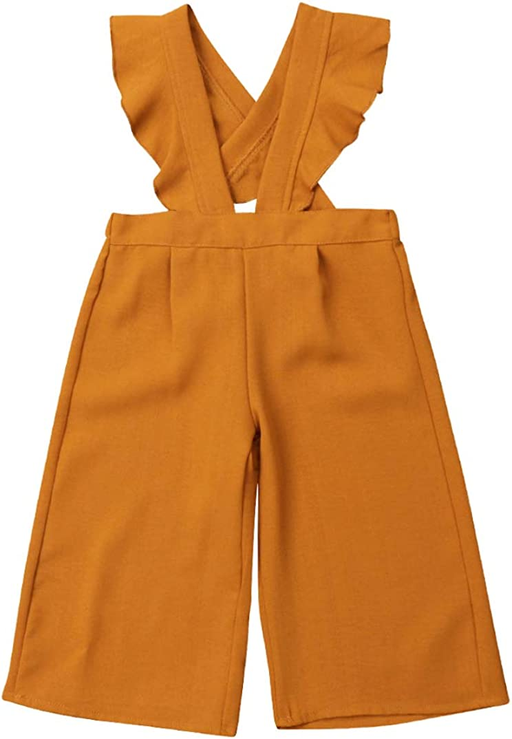 DY coperate Toddler Baby Girls Ruffle Wide Leg Pants Overalls Fly Sleeve Pleated Suspenders Romper Outfits