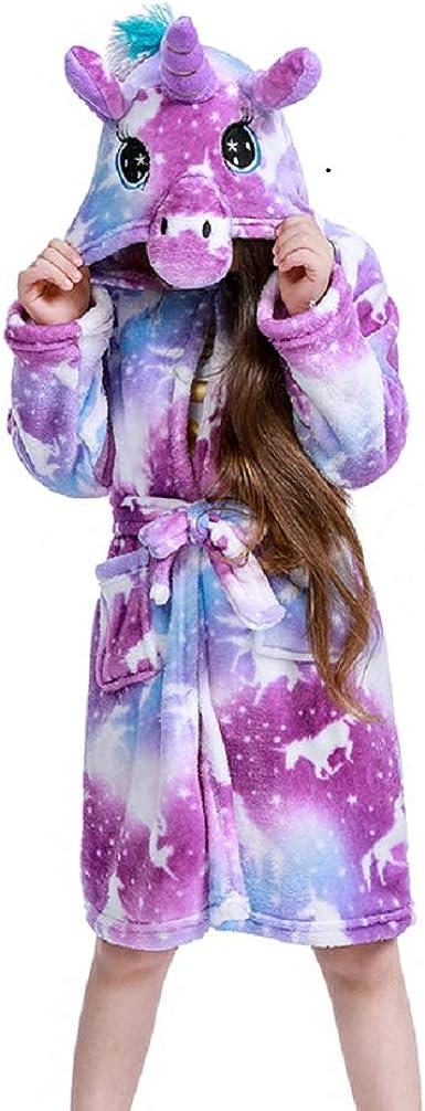Soft Flannel Hooded Bathrobe Sleepwear for Girls