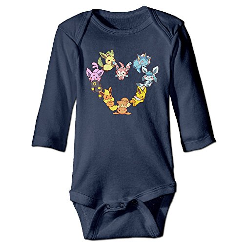 Kamici Baby Inflant Eevee Family Heart Long Sleeve Climb Clothes Romper Navy 12 Months -
