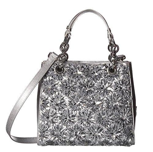 MICHAEL Michael Kors Womens Flora Burst Leather Satchel Handbag Silver Small