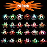 Mikulala Novelty 24 Pack Light Up Rings Fidget Toys For Kids Adults Child Glow In The Dark Party Favors Bulk Flashing Led Kid Prizes box Fun Gifts for Graduation Party Supplies, Kids Party