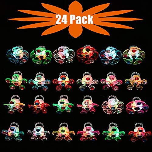 Mikulala Novelty 24 Pack Light Up Rings Fidget Toys For Kids Adults Child Glow In The Dark Party Favors Bulk Flashing Led Kid Prizes box Fun Gifts for Graduation Party Supplies, Kids Party by Mikulala